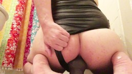 Chubby Cutie Wears A Onepiece and Bounces On His Dildo with Oil