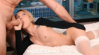 HOLED - Petite Dakota Skye spreads her tiny asshole for anal Spank throat