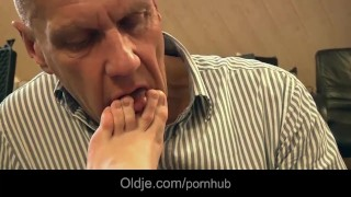 Old man sucking young girl toes fucks tight pussy until mouth cumshot