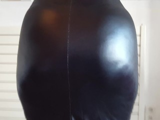 He pulls up her latex skirt and shows...