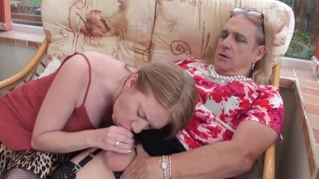 Cross dresser lingerie man Cross dresser cathy wanks and cums on lily mays tits then licks it off