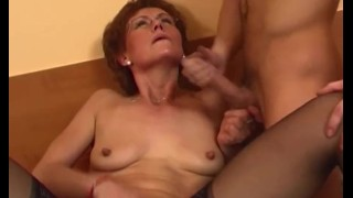 Redhead Grandma In Laced Stockings Fucks Young Dick
