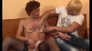 Redhead Grandma In Laced Stockings Fucks Young Dick Dad young