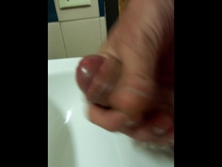 Gas station bathroom cumshot
