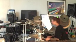 Felicity Feline Practices her drums BTS