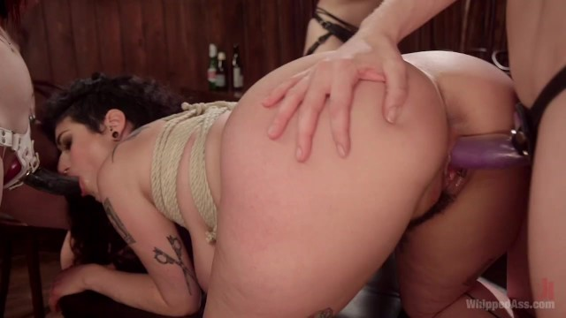 In a lesbian bar - Dyke bar 4: wet t-shirt contest winner spanked, dp strap-on fucked
