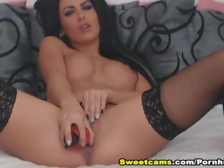 Sexy Brunette Fucks Her Tight Pussy With Her Dildo