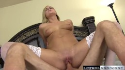 Kate England gets new fuck buddy and gets cum down her throat