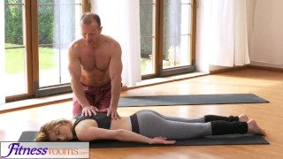 FitnessRooms Dirty yoga teacher on gorgeous fitness model Riding lingerie