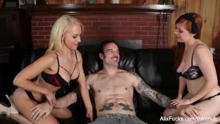 Sexy babes Alix & Penny share a big cock Bareback mia