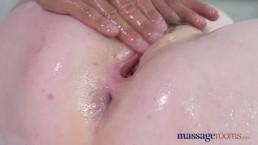 Massage Rooms Big boobs strawberry blonde rides big fat dick