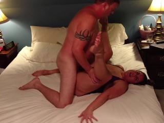 Milf Becky Tailor fucks and rides dick in purple nightie…