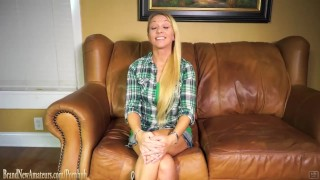 Amateur Mom Montana plays with cock on casting couch