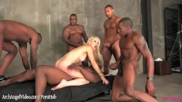 Interracial Anal Gangbang on blonde Ashley Fires