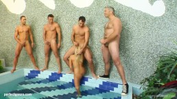 Myra L sucking with facial end group of guys in scene from Cum For Cover
