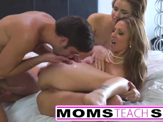 Moms Teach Sex - Step Mother and sons first time interracial FFM fuck S3:E5