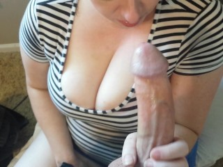 Sexy slut slurps cock and cum! Deep throat gargling fun!