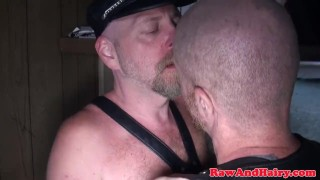 Polar bear anal fingered and rimmed in cabin Made daddy