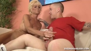 Horny step-mom POV handjob