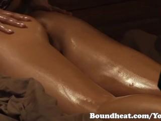 Three Beautiful Lesbians In Sensual Massage Scene