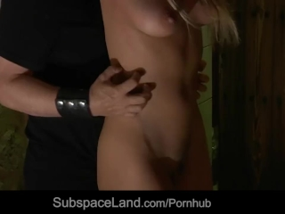 Handcuffed and mouth filled with cumshot, busty slave endures bondage sub