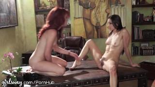 Girlsway Therapist Seduces Redhead Patient