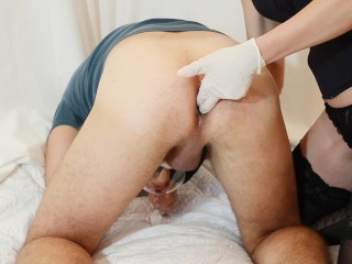 Prostate Milking with Gloved Handjob (cum in his ass)