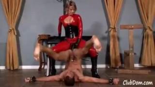 Goddess Brianna in red latex fucks her maleuntil he shakes