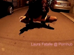 Naughty public pissing and smoking cigar - Laura Fatalle