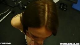 Mila Blaze sucks cock POV and swallows