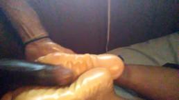 Sleep footjob *cumshot* hershey soles