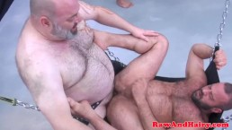 Mature chubs bareback orgy in art gallery