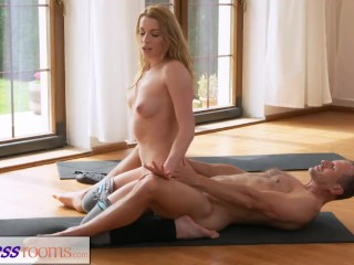 Fitnessrooms yoga master teaches young student sexual techniques...