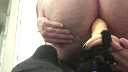 Male solo anal dildo ride