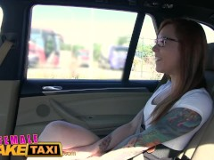 FemaleFakeTaxi Horny filthy lesbians lick shaved wet pussy in taxi