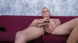 DILF strips down and tugs his cock
