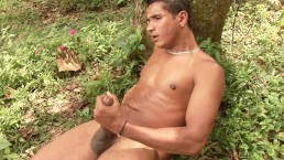 Big dick latino guy jerks himself off in the forest