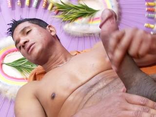 Big dick latin dude tugging at his hard cock