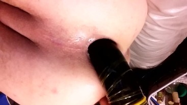 Twink gaping ass with huge black dildo