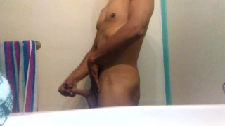 Relieving stress before shower Solo hunk