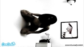 Screen Capture of Video Titled: possessed latina teen step sister with hairy college pussy camming on wall