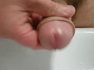 Washing my sensitive head before making myself cum