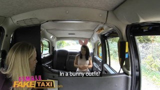 Preview 1 of FemaleFakeTaxi Cute Asian has Lesbian bonnet sex with big tits MILF