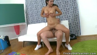 Hot student fucked doggie style by older teacher to pass class