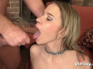 Submissive bitch Angel Piaff gets her piss reward
