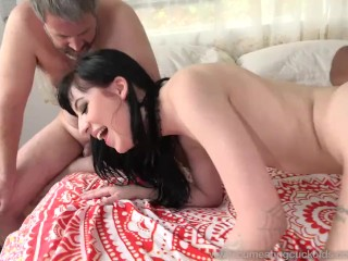 Charlotte Sartre Gets Stuffed With Black Cock As Hubby Watches