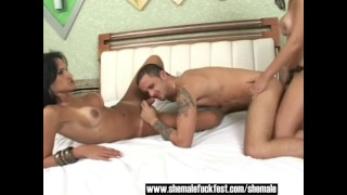 One Shemale a hot guy and a Busty Latina - Shemale Fuck Fest