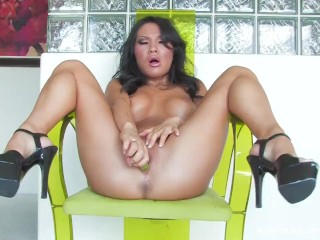Asian hottie Asa Akira toys her tight pussy