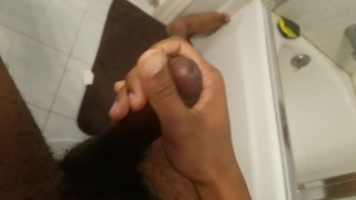 Jerks in bathroom bbc cum till solo amateur pov