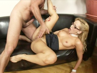 Blonde secretary in glasses ass fucked by her boss